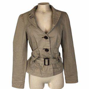 SOIA & KYO Tan Utility Belted Short Jacket Medium